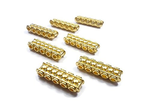 Foxy Findings 3 Pieces Rectangle Bead Divider Bar Spacer 5 Strand - 24K Gold Plated - SFG017 (Art Rectangle Charm Gold Plated)
