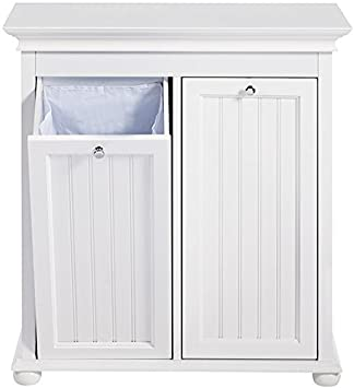 Hampton Bay Double Tilt Out Beadboard Bathroom Hamper 27 Hx26 Wx13 D White