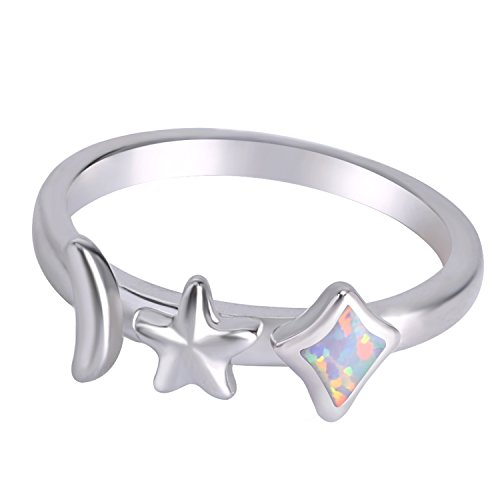 KELITCH Created Opal Band Rings Moon Star & Diamond Shape Solitaire Rings for Women (White, 10)