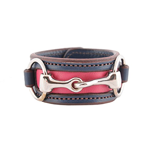 (Equestrian Horse Snaffle Bit Two-Tone Navy Blue and Pink Leather Cuff Bracelet (Navy Blue/Pink))