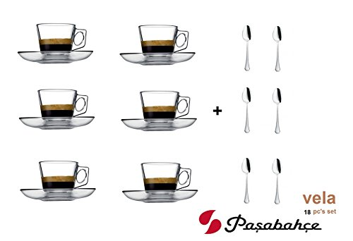 VELA 3.2-Ounce. Small Demitasse Clear Glass Espresso Drinkware, Set of 6 Cups/Saucers + Set of 6 Stainless Steel 18/10 mini Espresso Spoons! Hostess, Coffee Lover/Enthusiast, (Demitasse Cup Saucer)
