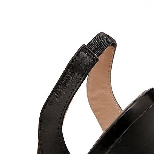 AllhqFashion Mujeres Tacón de aguja Sintético Sólido Peep Sin cordones Sandalia Negro