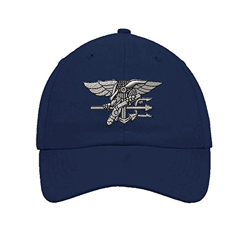 Speedy Pros Navy Seal Silver Logo Embroidery Twill Cotton 6 Panel Low Profile Hat Navy
