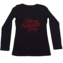 Womens Fashion T-shirt with Red Happy Valentines Day in Rhinestones (1X, Black Long Sleeve)