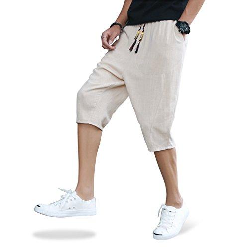 考案する組立統治するサルエルパンツ メンズ ハーフパンツ ワイドパンツ ステテコ ショートパンツ サルエル 麻 夏 しちぶ丈 パンツ 七分丈 クロップドパンツ ファッション カジュアル ズボン 半ズボン おしゃれ 袴パンツ 調整紐 ゆったり 通気性 大きいサイズ
