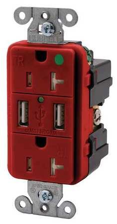 Duplex Hubbell Wiring Device (20A Duplex USB Charge Receptacle 125VAC 5-20R RD)
