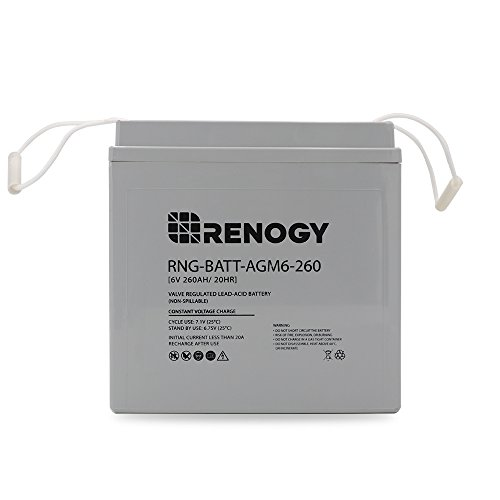 Renogy 6 Volt 260Ah Deep Cycle AGM Battery Golf Cart, Marine and RV Battery Maintenance Free