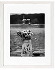 TONES FRAME DESIGN Photo Picture Frame, Wood Frame, with Ivory Mat and Tempered Glass