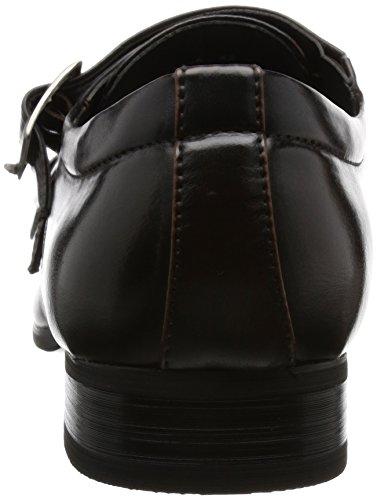 MM/ONE Mens Double Monk Strap Plain Toe Slip On Dress Shoes Black Brown Dark Brown p001fA4zb