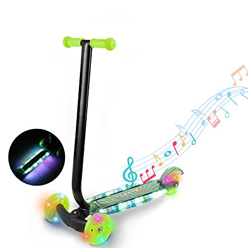 Hot Ancheer Kids Scooter with Music - 3 Wheels Maxi Kick Scooter with LED Light Up Wheels/Board - Birthday Gift for Children Boys Girls Age 3-8