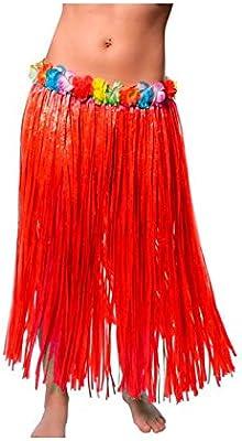 Falda Hawaiana Adulto Hula Roja (80 cm): Amazon.es: Juguetes y juegos