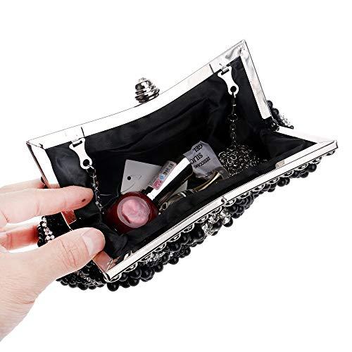 Blanco Para Dress Bag Pearl Elegante color Xoxo Negro Bolso Mujer Lady Dinner Banquet E6xSWPqFnw