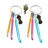 Key Chain Aluminum Crochet Hooks Knitting Needles Craft with Yarn Ball Charms for Bracelets and Necklaces (2 Pack)