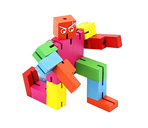 TooGet Brain Teaser Puzzle,Wooden Magic Cube Robot - Multi Color