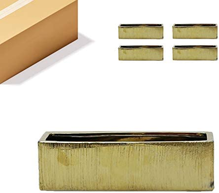 WGV Ceramic Planter Box Bulk 14″ x 4″ x 4″H Gold Etched Long Rectangular Block Terrarium Floral Vase Centerpiece
