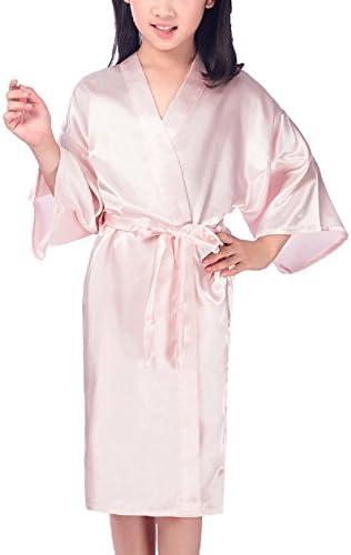 Toddler Baby Kid Girls Satin Floral Kimono Flower Girl Getting Ready Robe for Spa Party Wedding Birthday