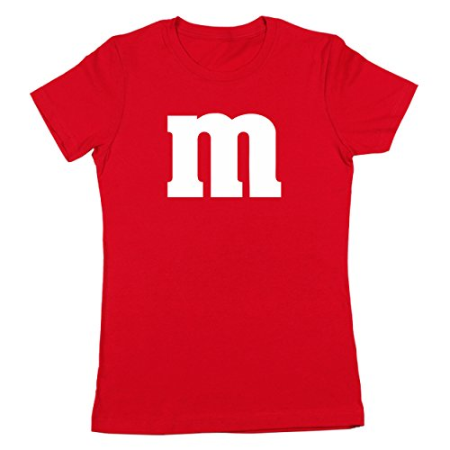 M Chocolate Candy Halloween Costume Outfit Funny Group Cool Party Womens Shirt Small Red