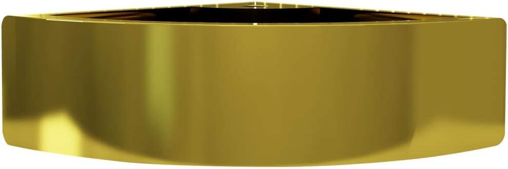 vidaXL Lavabo con Rebosadero Ba/ño Servicio Fregadero Piezas de Fontaner/ía Bricolaje Instalaci/ón Decoraci/ón Aseo Grifer/ía 45x32x12,5 cm Cer/ámica Dorado