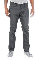 Kayden K Men's Premium Slim Fit Waxed Denim Jean-Black-32/30
