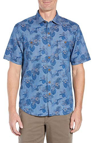 Tommy Bahama Fade A Lei Camp Shirt (Color: Blue Jean, Size XXL) (Tommy Bahama Lyocell Shirts)
