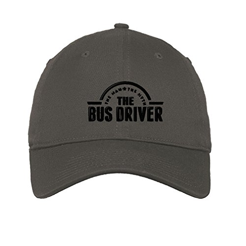 Speedy Pros Cotton 6 Panel Low Profile Hat Bus Driver Man Myth Embroidery Dark Grey
