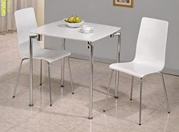 Fiji Small Dining Set Table 2 Chairs White High Gloss Chrome By Fiji