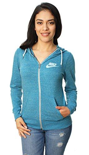 Nike Women's Gym Vintage Full Zip Sport Casual Hoodie-Clearwater Heather-Small