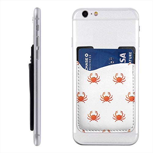 (Red Crab Cartoon Phone Card Holder for Back of Phone, Stretchy Wallet Stick On Pocket Credit Card ID Case Pouch Compatible with All Smartphones)