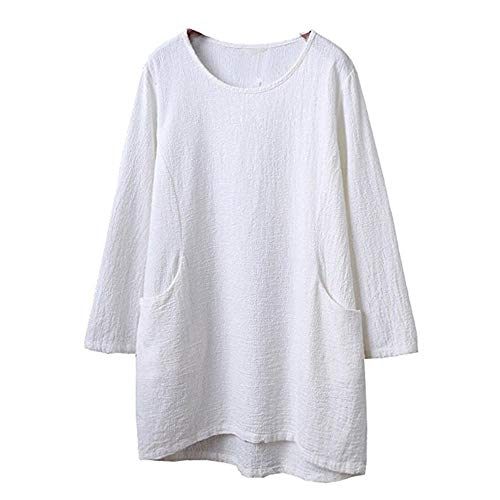 HGWXX7 Womens Tops 3/4 Sleeve Casual Cotton Linen Solid Tunic Blouse T-shirt(L,White)
