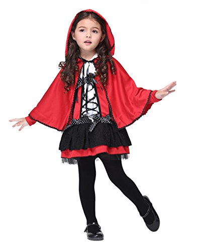 ZOEREA 2pcs Girl's Costume Red Mantle Magic Cosplay Dress Halloween Label S