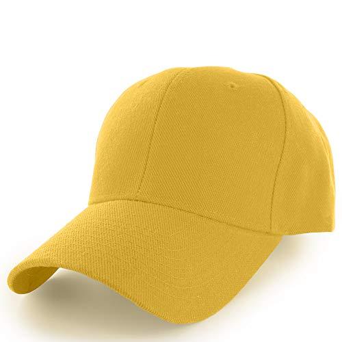 (KANGORA Plain Baseball Cap Adjustable Men Women Unisex | Classic 6-Panel Hat | Outdoor Sports Wear (20+Colors) (Yellow))
