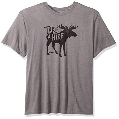 Life is Good Men's Cool Tee Take A Hike Moose, Slate Gray, X-Large -