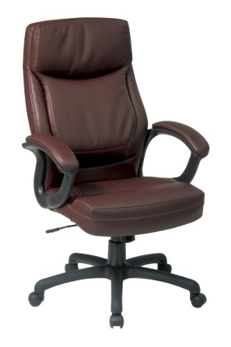(Office Star High Back Thick Padded Contour Seat and Back Eco Leather Executive Chair with Locking Tilt Control with 2-tone Stitching, Mocha)