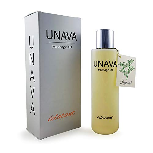 Peppermint Massage Oil for Couples - Set The Mood for a Relaxing Night with a Fresh Peppermint Aroma - Experience UNAVA eclatant, a Body Oil and Moisturizer
