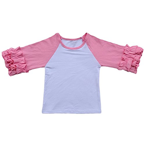 Toddler Girls Icing Ruffle Shirts Kids Raglan T Shirts Baseball 3/4 Sleeves Baby Cotton Tee Tops Little Big Sisters Family Matching Crew Neck T-Shirt Birthday Casual School Clothes Pink 18-24 Months (Toddler School Tee)
