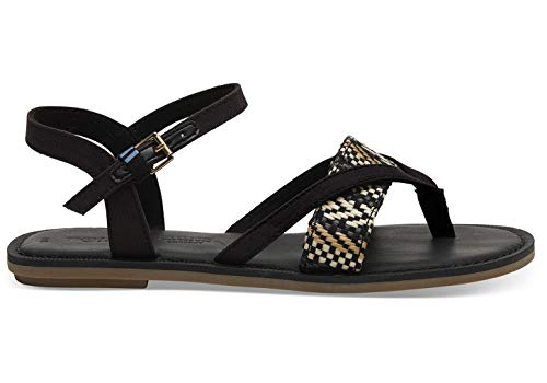 TOMS Lexie Sandals Black Canvas with Geometric Woven Strap 10013303 Women's Size - Sandals Ankle Woven Strap