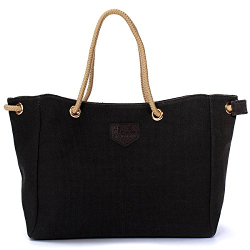 OURBAG Women's Vintage Canvas Shoulder Bag Tote Purse Handbag Black