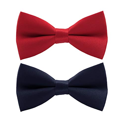 Wirarpa Mens Classic Pre-tied Bow Ties Clip On Formal Solid Tuxedo Adjustable Bowtie Wedding Deep Blue Red Large