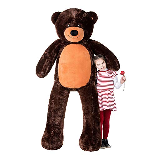 WOWMAX Giant Huge Teddy Bear Cuddly Stuffed Plush Animals Daney Life Size 6 Foot Teddy Bear Toy Doll for Present Birthday Gift Dark Brown 72 Inches from WOWMAX