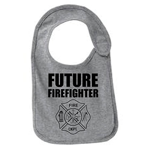 Future Firefighter Funny Infant Jersey Bib Athletic Heather One - Baby Firefighter Bib Future