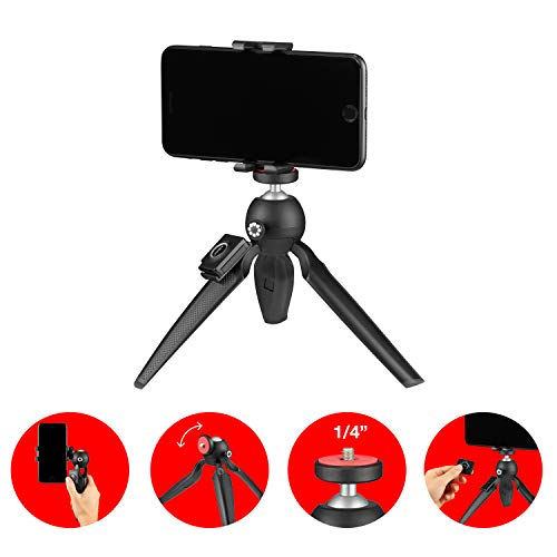 JOBY Handypod Mobile (Plus) Mini Tripod with GripTight One Mount and Impulse Bluetooth Trigger for Smartphone, Vlogging, DSLR, CSC and Compact Cameras, LED, Microphones Up to 1 kg JB01564-BWW, Black