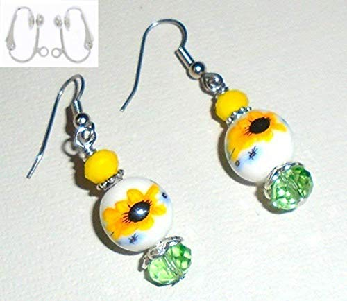 - Sunflower Flower Ceramic & Yellow Green Crystal Glass Bead Earring Set (Clip-Ons)
