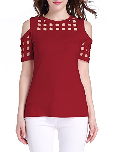 Govc Women Casual Cold Hollow Shoulder Short Sleeve T-Shirts Tops(Wine Red,L)