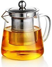 oneisall Teiera in Vetro con Acciaio Inox Infusore Rimovibile, 450ml Bollitore per tè Sicuro