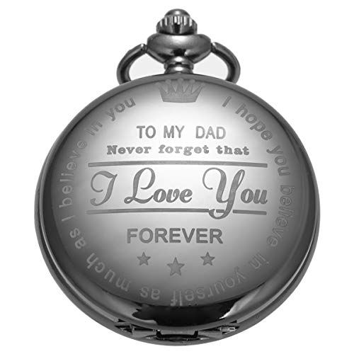 Pocket Watch Men Personalized Black Chain SIBOSUN Quartz Gift from Son Daughter Child to DAD Engraved