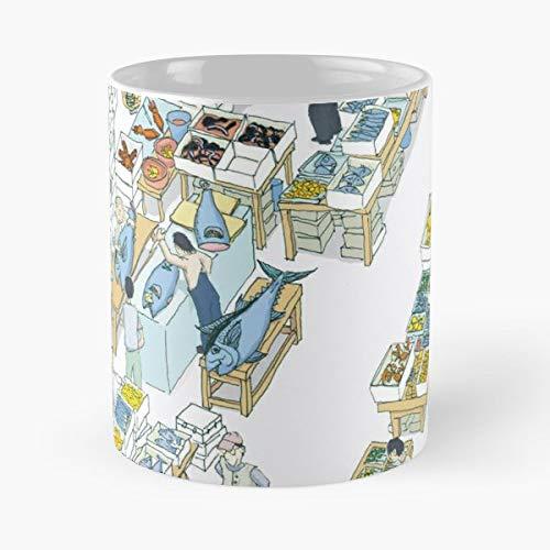 Tokyo Market Tsukiji Fish - Coffee Mug-11 Oz,white Unique Birthday Gift-the Best Gift For Holidays. ()