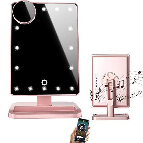 Espejo de maquillaje LED Bluetooth con pantalla tactil y aumento de 10x, Bluetooth inalambrico + manos libres y cargador USB, espejo LED (rosa)