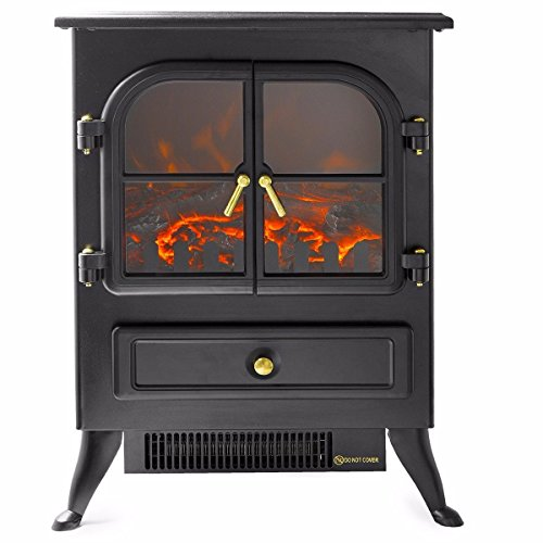 Gas 30 Inch Log Heater - Electric Heater 1500W Fireplace Standing Flame Wood Log Decorate Stove Glass