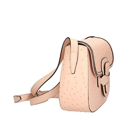 Chicca Borse echtes Leder Schultertasche 25x20x9 Cm Rosa