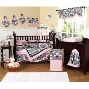 Sweet Jojo Designs 9-Piece Pink and Black Damask Sophia Girl Girl Bedding crib set
